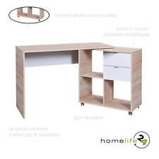 Bureau PC ordinateur avec tiroirs et compartiments sonoma blanc sur roulettes