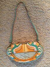 Fendi Mirrored Blue/Yellow Clutch Shoulder Bag