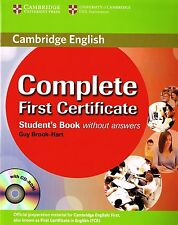 Cambridge COMPLETE FIRST CERTIFICATE Student's Book & CD-ROM Without Answers NEW