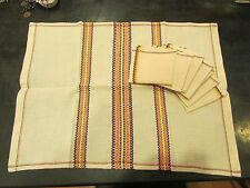 ancienne nappe a thé napperon et 6 serviettes assorties