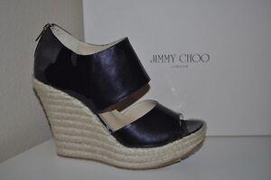 NIB Jimmy Choo PATRIOT PAT Navy Patent Platform Espadrille Wedge Shoes  42 /11US