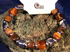 Tigres eye coupe carrée Cube Box gemstone bracelet Reiki Guérison Cristal béni