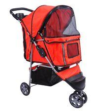 Pet Stroller Carrier Cat Dog Pram Red 3 Wheels Folding Travel Cage Mesh Cover