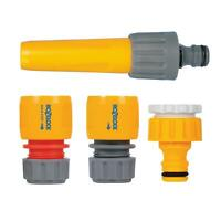 Hozelock Hose Fitting Starter Set Water Stop, with Nozzle Tap/Easy End Connector