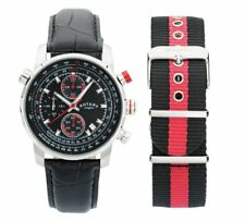 Rotary Mens Interchangeable Leather Strap Waterproof Watch