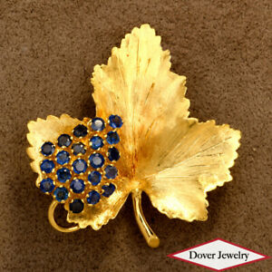 Vintage TIFFANY & CO Blue Sapphire 18K Gold Leaf Berry Cluster Pin 10.7 Grams NR