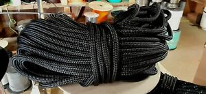 """3/8 """" x 100 ft. Double Braid-Yacht Braid Polyester Rope Hank .Black.Made in USA."""