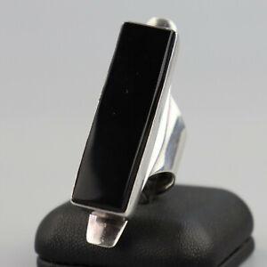 Vintage Huge Modernist Onyx Ring Statement Ring Sterling Silver 80s Art Deco