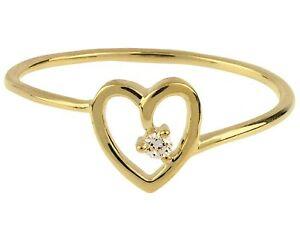 9ct Yellow Gold + Diamond Set Heart Ring Size P + gift bag