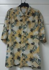 COLUMBIA SPORTSWEAR Camp Shirt Large Yellow Hawaiian Aloha Floral Button Down