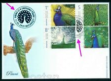 2019 Peafowls,Indian/Blue & White,Congo/African,Green-Peacock,Romania,7553sp.FDC