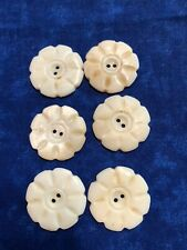 Vintage Six Carved 2 Hole 23 mm Mother of Pearl Buttons
