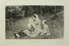 WILHELM WOERNLE - Mutter und Kind - Nach Franz Rumpler - Radierung 1898