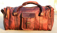 """30"""" Mens Brown Vintage Genuine Travel Luggage Duffle Gym Bags Tote Goat Leather"""
