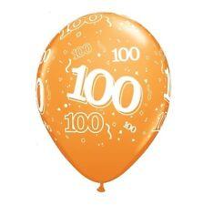 """100th fiesta Cumpleaños globos 11"""" Qualatex pack de 6 (Helio Calidad/años 100) amarillo"""