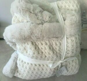 Pottery Barn Crochet knit faux fur throw blanket IVORY white NWT