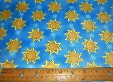 1 yard of YELLOW SUNS on BLUE SKY 100% Cotton Fabric
