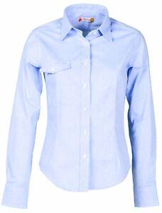 camicia donna azzurra sfiancata taschino cotone manica lunga slim s m l xl