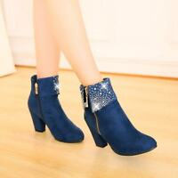 Ladies Rhinestone Decor Side Zip Block Heels Ankle Boots Casual Dating New Shoes