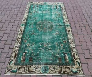 Green Bohemian Area Rug Anatolian Hand Knotted Oriental Floral Carpet 5x8 ft