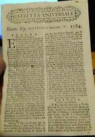 1784 'GAZZETTA UNIVERSALE' SU GUERRA VENEZIA A TUNISI; ANTONIO CANOVA; SCHIAVE..