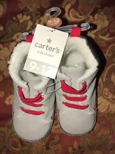 "NWT CARTER""S  BABY BOY HIGH TOP CRIB SHOES SZ 9-12 MONTHS BOOTS GRAY W/RED LACE"