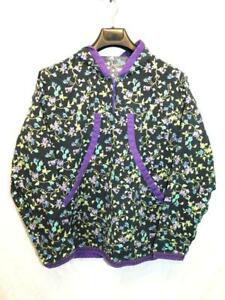 Alaska Native Eskimo Kuspuk XL Black Purple Blue Floral 1/4 Zip Tunic Shirt Hood