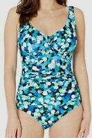 $221 Maxine of Hollywood Women's Blue Dots Front Mio One-Piece swimsuit size 10