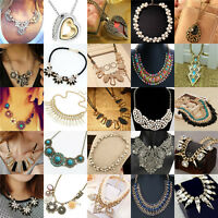 Womens Bib Crystal Flower Pearl Pendant Chunky Chain Collar Statement Necklace