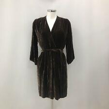 Toast Velvet Silk Wrap Dress UK 10 Brown Formal Luxury Long Sleeve Chic 291471