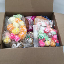 large box of mixed grab box  craft supplies  used and new wood pieces pompoms
