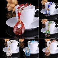 Women's Elegant Glass Flower Sweater Chain Long Pendant Necklace Jewelry Jjuy