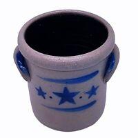 "Rowe Pottery 2003 Salt Glazed Two Handled Three Cobalt Star Crock 4 1/2""H"