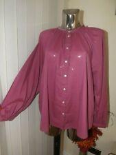 M&s per Una Womens Cotton Blouse in Magenta Size 14 Loose Fit - Was