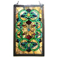"""Victorian Stained Glass Hanging Window Panel Home Decor Suncatcher 28""""H"""