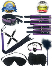 14pcs Black Purple Leather Bondage Set Kit Restraints Cuff Collar Whip Sex Kinky