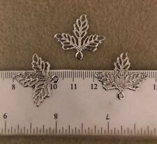 10 silver tone filigree leaf charms 26 x 23 mm  USA SELLER