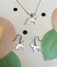 German Shepherd Sterling Silver Necklace & Earrings Set - New - FREE SHIPPING