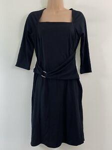 BNWT HOTSQUASH London black LBD stretch party buckle dress size 12