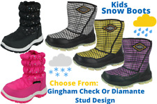 Boys Girls Kids Snow Boots Waterproof Thermal Wellingtons Check Winter Boots