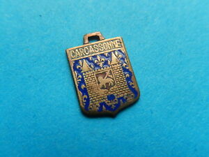 Vintage Enamel French Travel Shield Charms CARCASSONNE LAMB OF GOD VTUSA