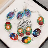 Fabulous Vintage Glass Christmas Nativity Cabochon Bracelet Earrings Gift Boxed