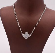White Opal Clover CZ Pendant Necklace Cable Chain Sterling Silver 925 17""