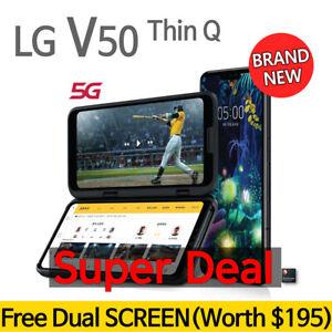 (Free Gift- Dual Screen) LG V50 Thin Q Black- 128GB • Unlocked GSM Smartphone