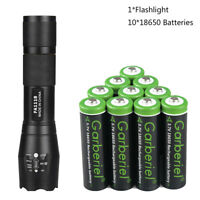 T6 LED Flashlight with 10PCS 18650 Battery Li-ion 3.7V Rechargeable Batteries