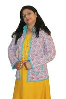 Indian 100% Cotton Women's Jacket Quilted Work Floral Print White Color