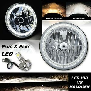 "7"" H4 Headlight White SMD Halo Angel Eye Headlamp w/ 6000k LED Light Bulb Each"