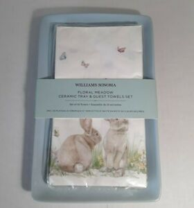"""WILLIAMS SONOMA Floral Meadow Set of Ceramic Tray (9.5"""" x 6"""") & Guest Towels"""