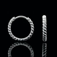 Huggie Hoop Earrings Solid 14K White Gold Twisted Rope Cable Design 23mm