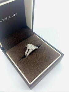 Ernest Jones 9ct White Gold Diamond Oval Halo Bridal Set Ring RRP £999